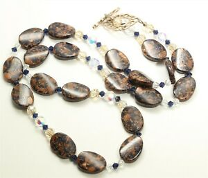 Sterling Silver Murano Oval Blue Gold Foil Art Glass & Crystal Bead Necklace