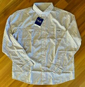 HUK Mens Tide Point Woven Plaid Shirt Fishing M L XL XXL Long Sleeve Sun New