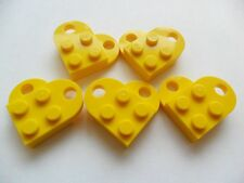 5 Yellow Lego heart coupling plates 3176 Modified 3 x 2 heart necklace parts