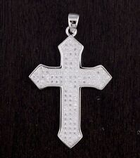 Womens Solid 925 Sterling Silver CZ Micro Pave Setting Cross Pendant