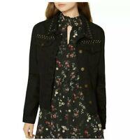 Sanctuary Denim Womens Black Fall Studded Denim Jacket, Size S, MSRP $169, NWT