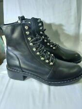 Nuevo Zara Con Tachas De Cuero Negro Botas al Tobillo Zapatos Talla 4 Uk Rrp £ 79.99