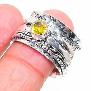 Citrine Gemstone Handmade 925 Sterling Silver Jewelry Ring Size 7 K740