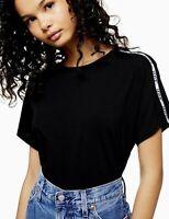 Levi's Women's Black Box T Shirt, White Sleeve Logo Tape, Size S (UK 10 - 12)