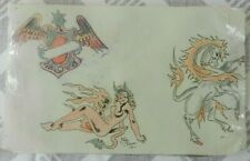 vintage hand drawn & coloured tattoo flash sheet / scrap THE BLUE not machine