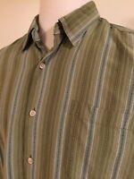 Tommy Bahama Men's shirt XLg XL Long sleeve L/S button Green Striped 100% Silk