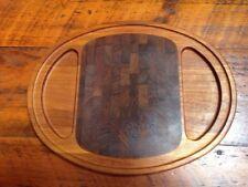 Vintage Mid Century Nissen Denmark Danish Teak Wood Oval Serving Cutting Board