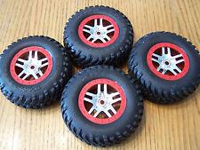 4 Traxxas 5907 3.3 Slayer Pro SCT Spec Tires 14mm Red Chrome Split Spoke Wheels