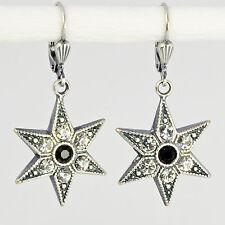 Ohrring Ohrhänger Silber Swarovski Kristall Stern – Vintage retro – Crystal klar