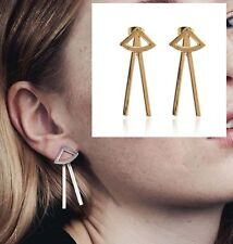 Minimal Geometric Gold Triangle Spike Rays V Bars Ear Jacket Cuff Stud Earrings