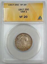 1917 Standing Liberty Silver Quarter, ANACS VF-20, VAR-1