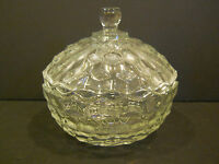 PRESSED GLASS CANDY DISH W/ LID COVERED BOWL CLEAR DECORATIVE