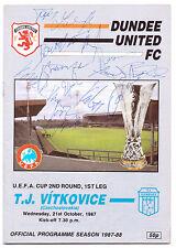 DUNDEE UNITED V TJ VITKOVICE 1987 PROGRAMME ORIG HAND SIGNED 15 X SIGNATURES