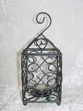 NEW Metal Hanging Lantern Tea Light Candle Holder Free Tea Light Hurricane Globe