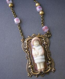 Altered Art handmade Frozen Charlotte Bisque Pink lavender Necklace Vintage Bead