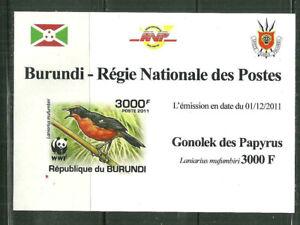 BURUNDI 919 MNH SOUVENIR SHEET WWF BIRDS; LANIARIUS MUFUMBIRI SCV 3.75