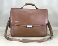 "Hartmann Designed by Lombardo Tan Leather 16"" Business Briefcase Rare"