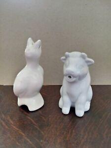 Ceramic Cow Cream/Milk Jug & bird pie funnel