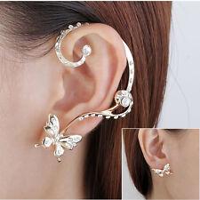Cuff Clip Stud Crystal Rhinestone Earring 1 Pair Modish Nice Women Butterfly Ear