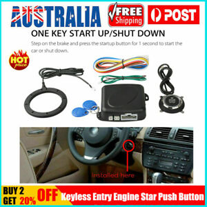 Car Alarm Engine Push Stop Start Button Lock Starter Ignition Keyless Entry Kit