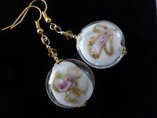 Beautiful White & Gold Lampwork Glass Coin Drop Dangle Pierced Earrings