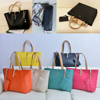 Women Ladies Handbag Set 2pcs Leather Tote Purse Messenger Clutch Shopping Bags