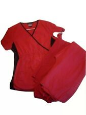 Woman's small scrubs. Two sets plus extra bottoms. All red