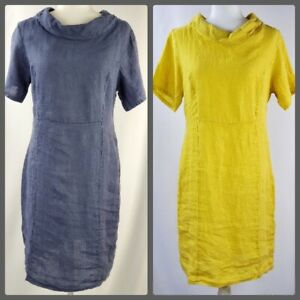 Martina Innocenti Size L Linen Dress Shift Sheath Made in Italy Blue Yellow NEW