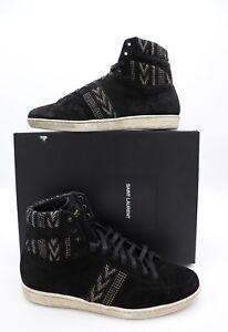 NIB Saint Laurent Mens Black Suede Court SL/10H Sneakers With Ikat Motifs 13 46