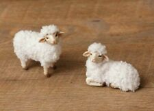 Fluffy Wool Sheep Set of 2 Country Primitive Folk Art Figurines Farmhouse Easter