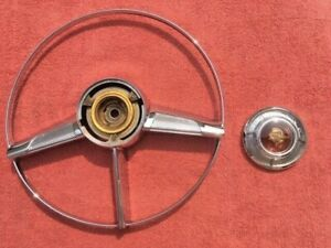 1953 1954 Pontiac Chieftain OEM (CRACK) Deluxe Steering Wheel Horn Ring Button