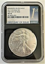 2017-W BURNISHED SILVER EAGLE-NGC MS70-FIRST DAY OF ISSUE-RETRO CORE-KEY DATE!!!