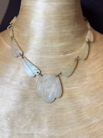 Victorian Antique NaTural Mother Of Pearl Choker NECKLACE Fine Genuine Carved