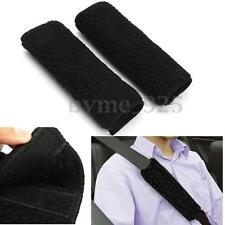2x Black Fleece Car Seat Belt Harness Cover Soft Shoulder Pad Protect Strap Wrap