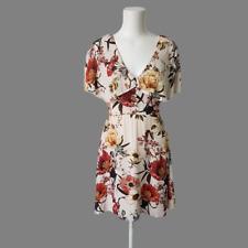 River Island Womens Sand Beige Floral Ruffle Sleeve Evening Dress 8 10 Eur 36
