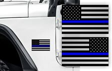 POLICE BLUE LINE FLAGS Stickers for Jeep Wrangler American Decals  JK TJ XJ USA