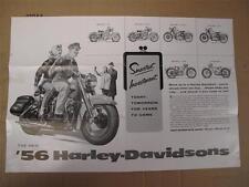 NEW NOS 1956 Harley Davidson Model Range Fold-Out Brochure Servicar FL EL MS3