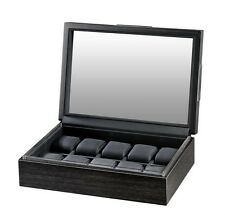 Box Storage Chest Case w/ Glass Top Volta Matte Charcoal Wood Finish 10 Watch