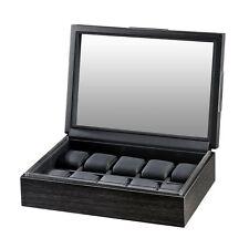 Volta Matte Charcoal Wood Finish 10 Watch Box Storage Chest Case w/ Glass Top