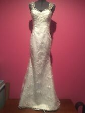White Lace Beaded Mermaid Gown Sexy Wedding Pageant Low Back XS 0 NWOT