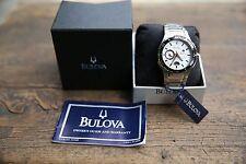 Bulova Men's Watch Sports Dress Luxury Silver Face Stainless Steel Black Bezel