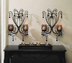 2 BLACK IRON SCROLLWORK CRYSTAL CHANDELIER CANDELABRA WALL CANDLE HOLDER SCONCES