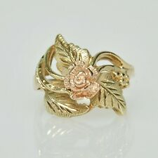 Ladies 10k Yellow Gold Rose Floral Diamond Cut Band Right Hand Estate Ring