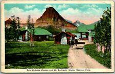 """GLACIER NATIONAL PARK Postcard """"The Medicine Chalets & Mt. Rockwell"""" c1920s"""