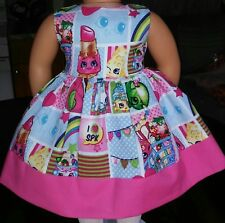 Handmade Clothes/American Girl Dolls/18 Inches/Shopkins and Pink Dress.