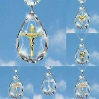 Fashion Cross 925 Silver Gold Necklace Pendant White Crystal Jewelry Gifts 2021