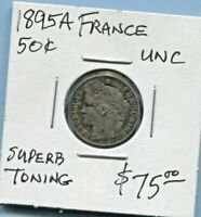 FRANCE - FANTASTIC HISTORICAL TONED SILVER 50 CENTIMES, 1895 A, KM# 834.1
