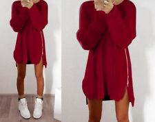 Plus Size Womens Oversized Baggy Jumper Dress Ladies Zip-up Knitted Long Sweater
