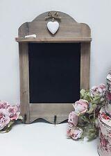 Vintage Shabby Chic Rustic Wooden Scalloped Heart Blackboard 3 Hooks Chalkboard