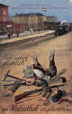 Litho AK 1918 HERBESTHAL Grenze Bahnhof@Bin glücklich angekommen@Soldat fallend